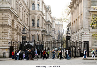 The security gates to downing street london england uk a8f5er