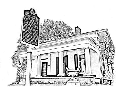 Front with sign governor s mansion sketch